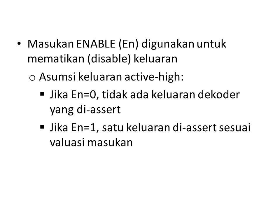 Masukan ENABLE (En) digunakan untuk mematikan (disable) keluaran o Asumsi keluaran active-high:  Jika En=0, tidak ada keluaran dekoder yang di-assert