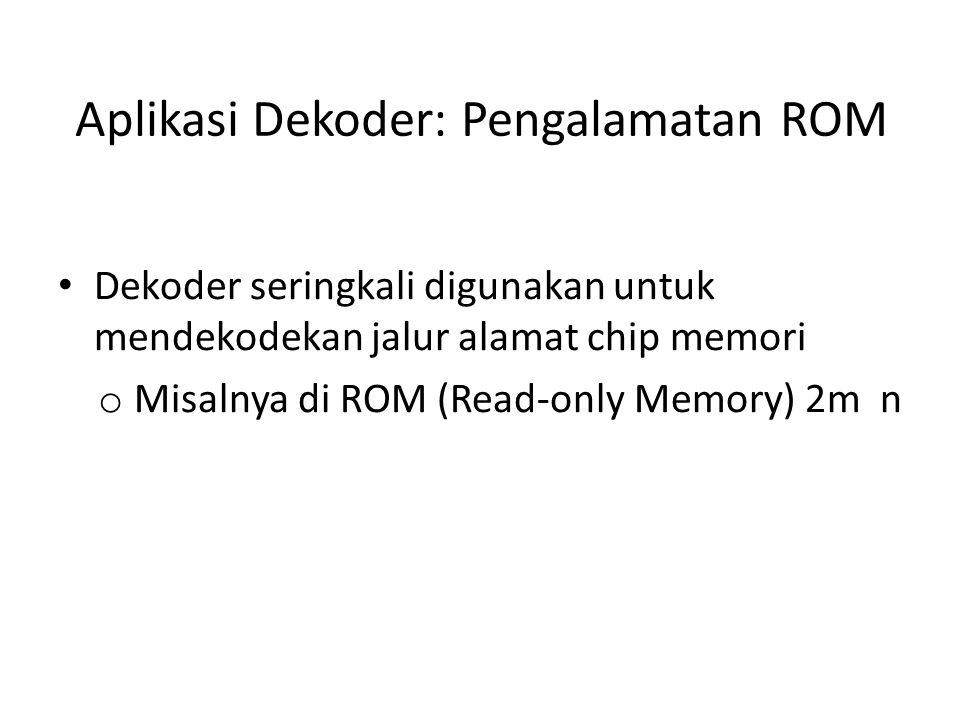 Aplikasi Dekoder: Pengalamatan ROM Dekoder seringkali digunakan untuk mendekodekan jalur alamat chip memori o Misalnya di ROM (Read-only Memory) 2m n