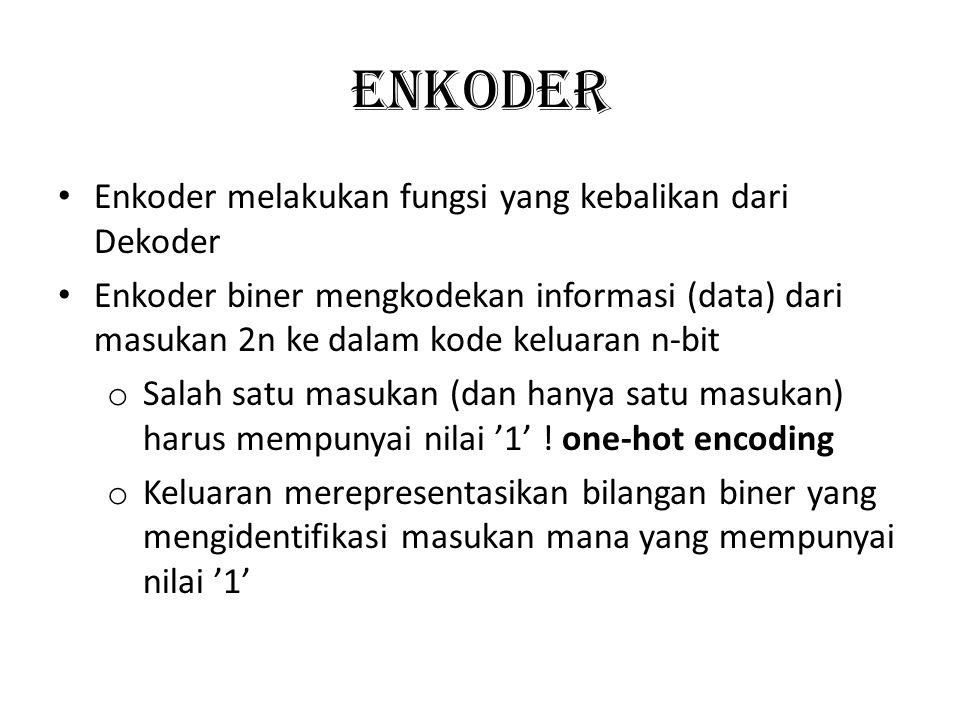 ENKODER Enkoder melakukan fungsi yang kebalikan dari Dekoder Enkoder biner mengkodekan informasi (data) dari masukan 2n ke dalam kode keluaran n-bit o