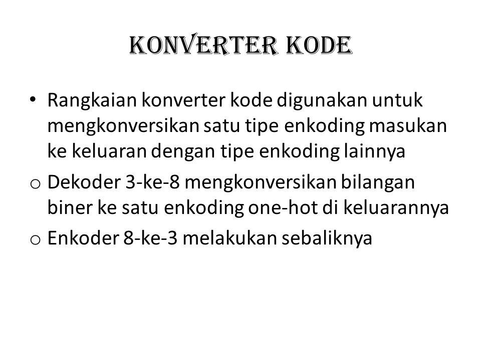 KONVERTER KODE Rangkaian konverter kode digunakan untuk mengkonversikan satu tipe enkoding masukan ke keluaran dengan tipe enkoding lainnya o Dekoder