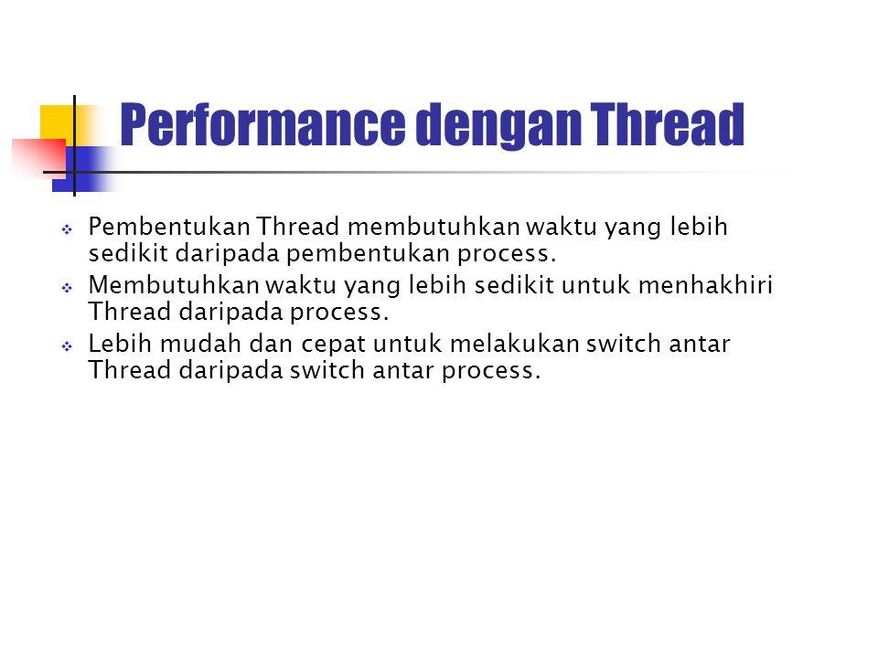 Performance dengan Thread  Pembentukan Thread membutuhkan waktu yang lebih sedikit daripada pembentukan process.