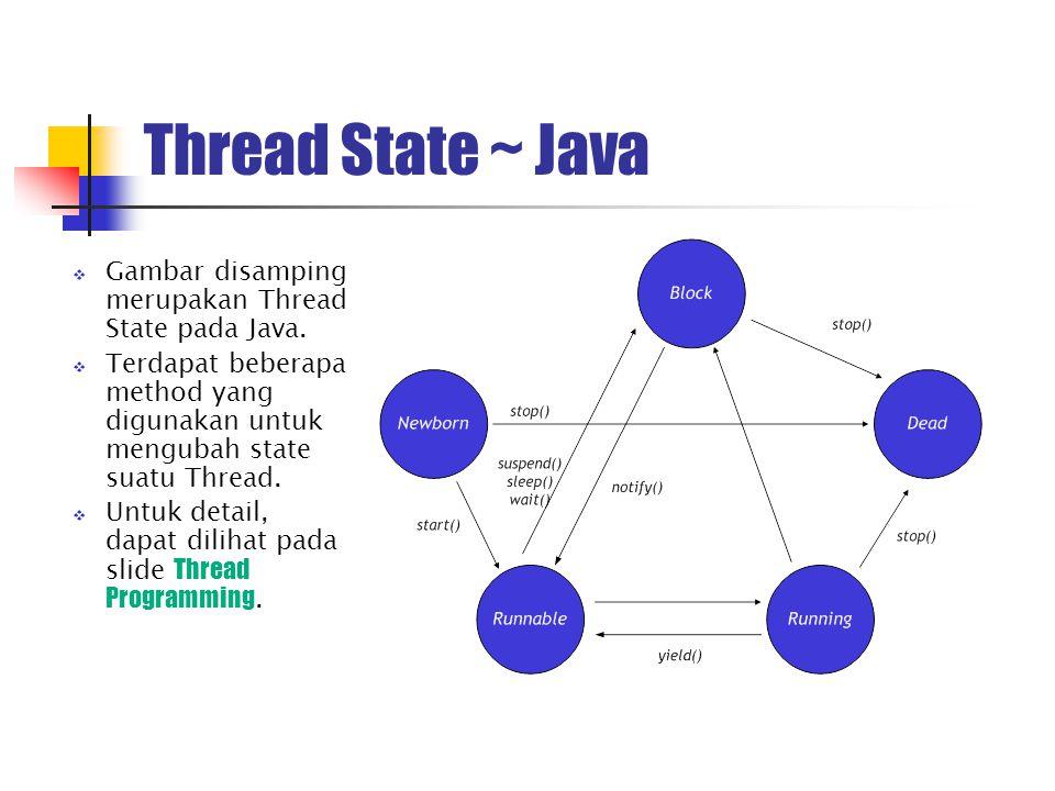 Thread Synchronization (1)  Concurrent merupakan mekanisme penjadwalan terhadap beberapa process dalam kondisi hendak dieksekusi secara bersamaan maupun hendak menggunakan suatu resource bersamaan.