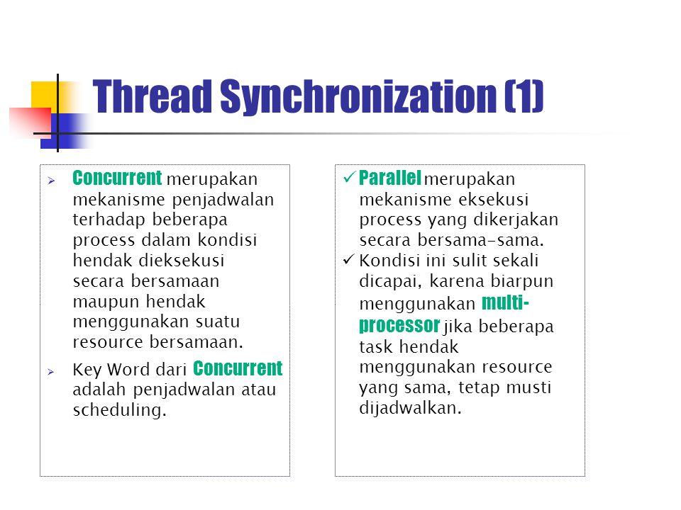 Thread Synchronization (2) Merupakan mekanisme digunakan untuk mengatur Concurrent Access.