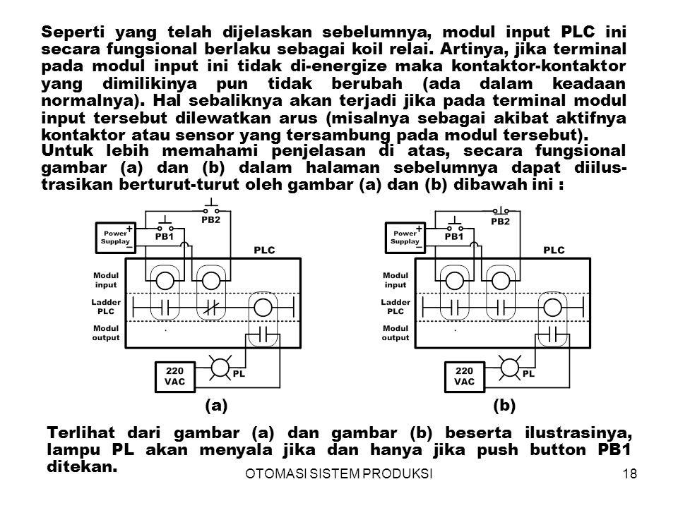 OTOMASI SISTEM PRODUKSI18 (a)(b) Seperti yang telah dijelaskan sebelumnya, modul input PLC ini secara fungsional berlaku sebagai koil relai.