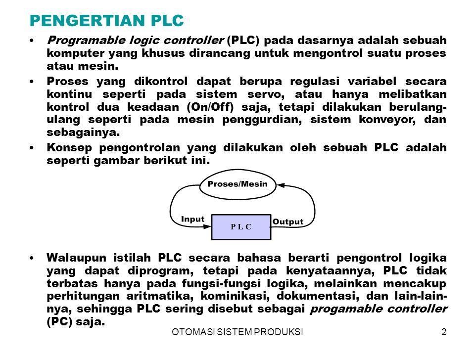 OTOMASI SISTEM PRODUKSI3 PRINSIP KERJA PLC Central Processing Unit (CPU) Sistem antar muka input/output Secara umum PLC terdiri dari dua komponen penyusun utama : Fungsi CPU adalah mengatur semua proses yang terjadi di PLC.