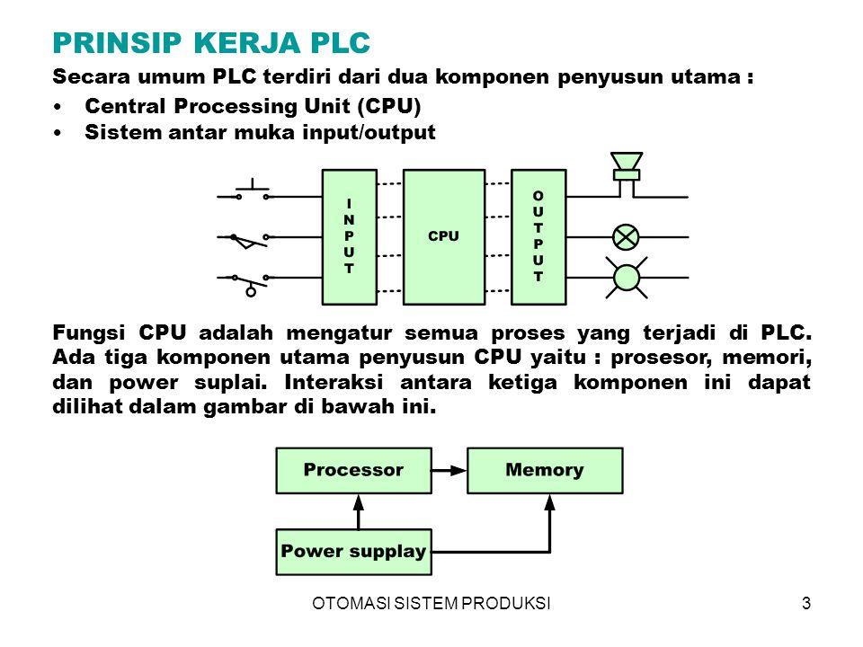 OTOMASI SISTEM PRODUKSI4 Peralatan input/output PLC Pada dasarnya, operasi PLC ini relatif sederhana; peralatan luar dikoneksikan dengan modul input/output yang tersedia.