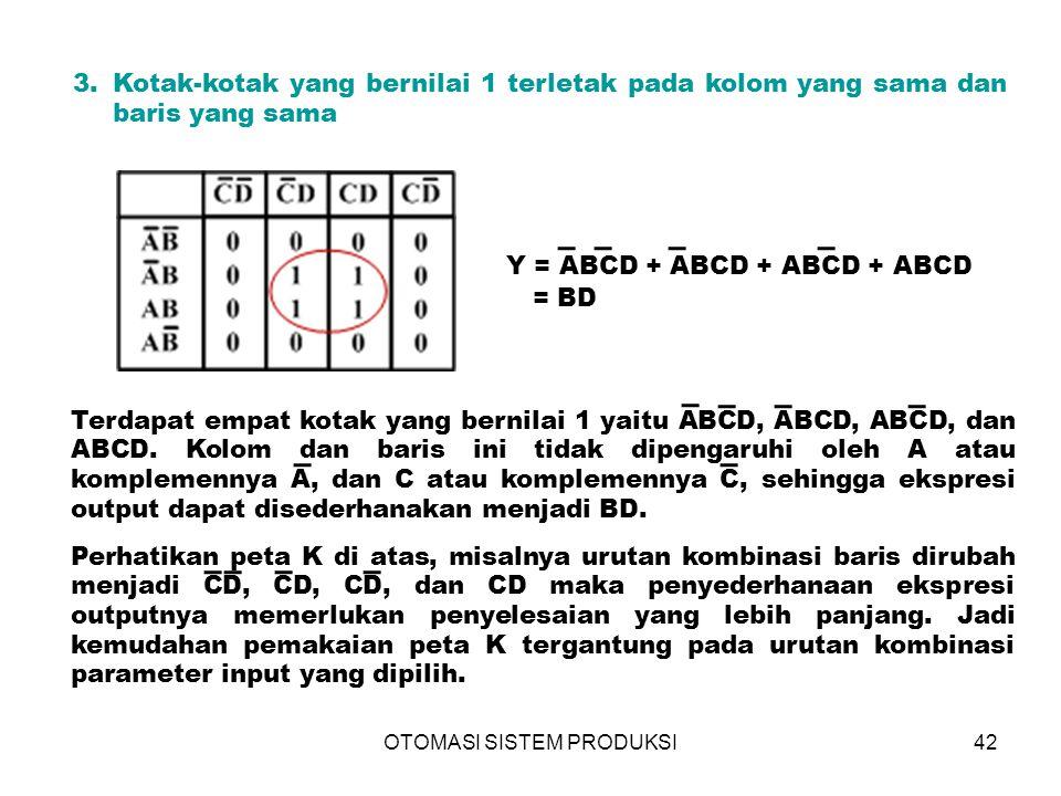 OTOMASI SISTEM PRODUKSI42 3.Kotak-kotak yang bernilai 1 terletak pada kolom yang sama dan baris yang sama Y = ABCD + ABCD + ABCD + ABCD = BD Terdapat empat kotak yang bernilai 1 yaitu ABCD, ABCD, ABCD, dan ABCD.