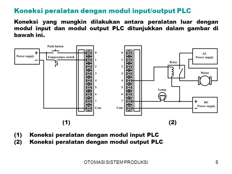 OTOMASI SISTEM PRODUKSI6 Operasi utama CPU Selama prosesnya, CPU melakukan tiga operasi utama : (1)membaca data masukan dari perangkat luar via modul input, (2)mengeksekusi progrqam kontrol yang tersimpan di memori PLC, (3)meng-update atau memperbaharui data pada modul output.