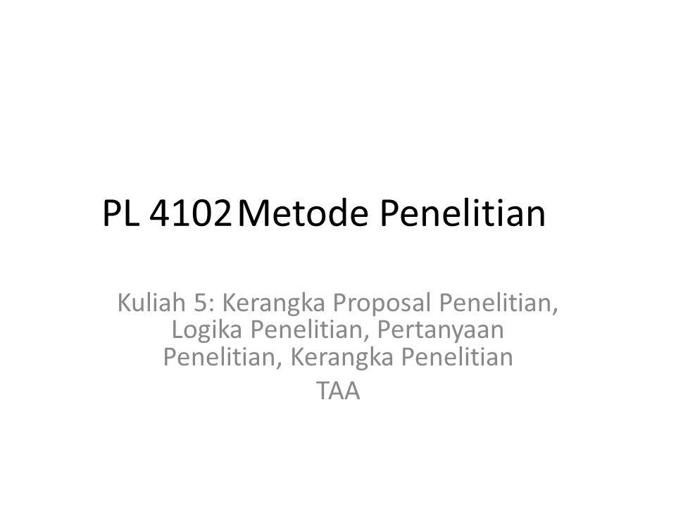 PL 4102Metode Penelitian Kuliah 5: Kerangka Proposal Penelitian, Logika Penelitian, Pertanyaan Penelitian, Kerangka Penelitian TAA