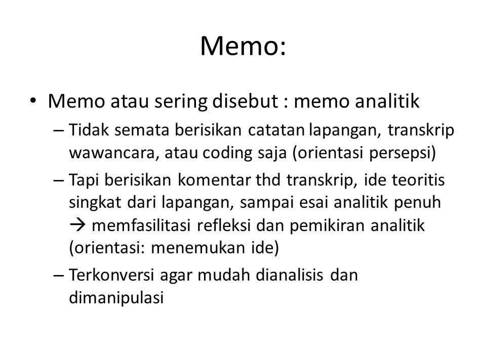 Memo: Memo atau sering disebut : memo analitik – Tidak semata berisikan catatan lapangan, transkrip wawancara, atau coding saja (orientasi persepsi) –