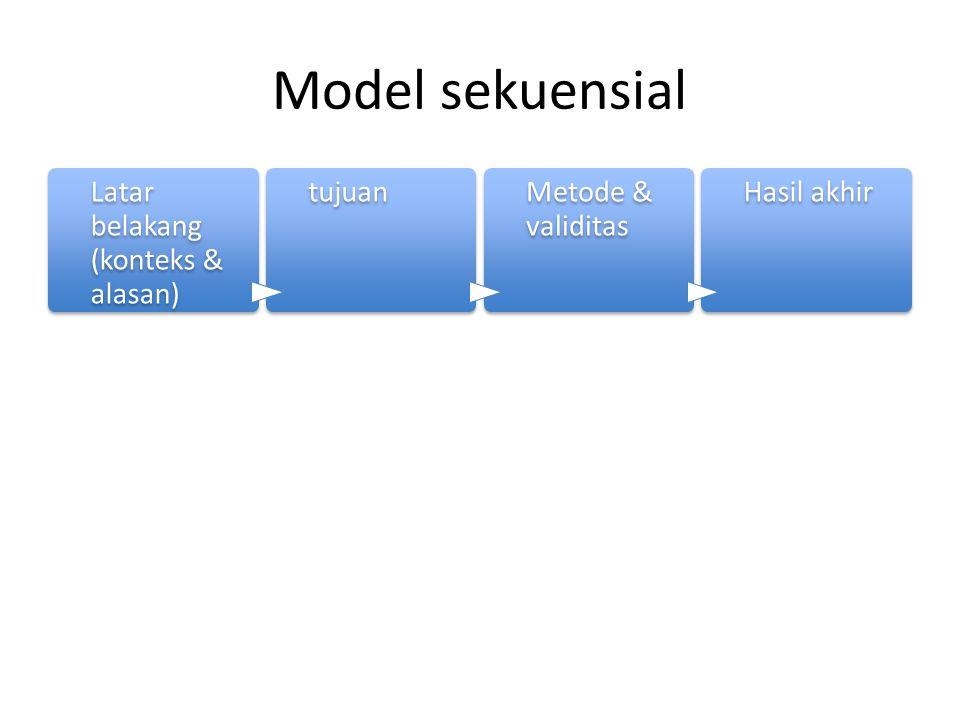 Model sekuensial Latar belakang (konteks & alasan) tujuanMetode & validitas Hasil akhir