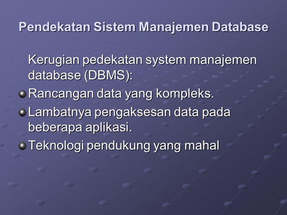 Pendekatan Sistem Manajemen Database Kerugian pedekatan system manajemen database (DBMS): Rancangan data yang kompleks.