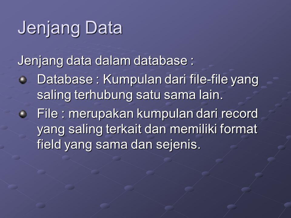 Jenjang Data Jenjang data dalam database : Database : Kumpulan dari file-file yang saling terhubung satu sama lain.