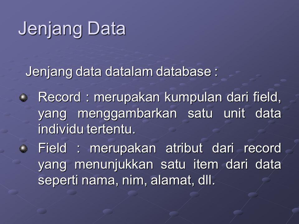 Jenjang Data Record : merupakan kumpulan dari field, yang menggambarkan satu unit data individu tertentu.
