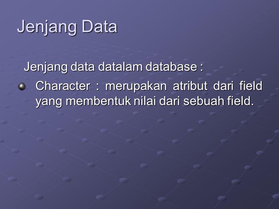 Jenjang Data Character : merupakan atribut dari field yang membentuk nilai dari sebuah field.