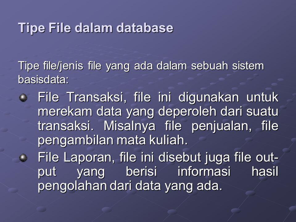 Tipe File dalam database File Transaksi, file ini digunakan untuk merekam data yang deperoleh dari suatu transaksi.