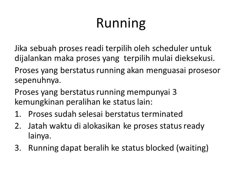 Running Jika sebuah proses readi terpilih oleh scheduler untuk dijalankan maka proses yang terpilih mulai dieksekusi. Proses yang berstatus running ak
