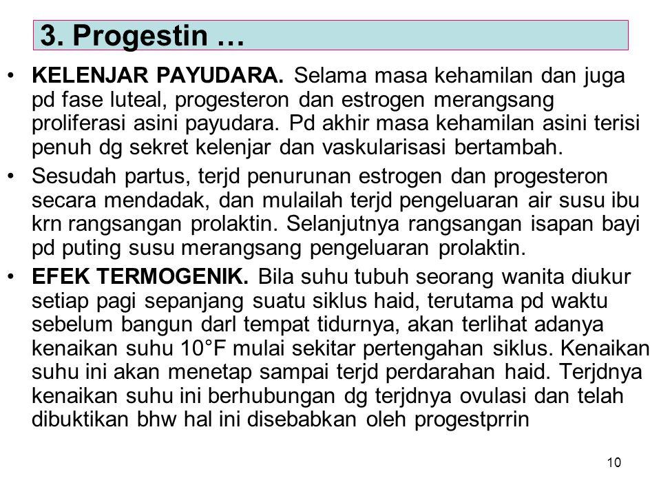 10 KELENJAR PAYUDARA. Selama masa kehamilan dan juga pd fase luteal, progesteron dan estrogen merangsang proliferasi asini payudara. Pd akhir masa keh