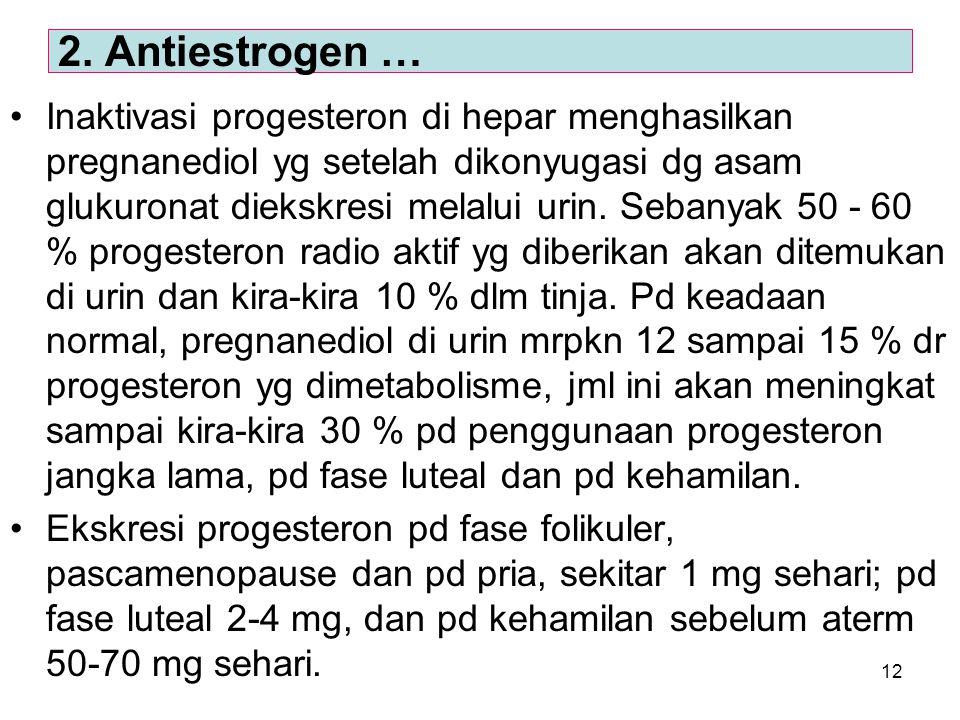 12 Inaktivasi progesteron di hepar menghasilkan pregnanediol yg setelah dikonyugasi dg asam glukuronat diekskresi melalui urin. Sebanyak 50 - 60 % pro