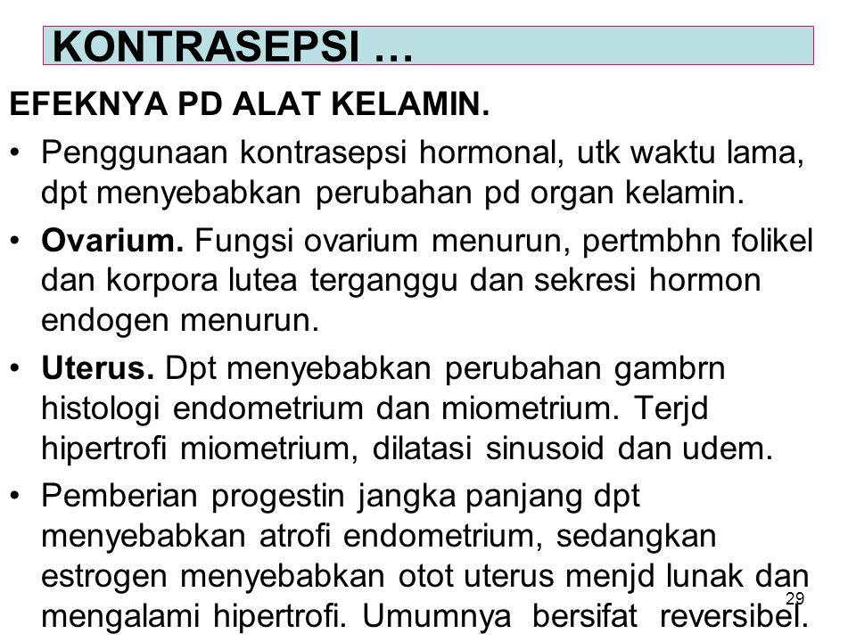 29 EFEKNYA PD ALAT KELAMIN. Penggunaan kontrasepsi hormonal, utk waktu lama, dpt menyebabkan perubahan pd organ kelamin. Ovarium. Fungsi ovarium menur