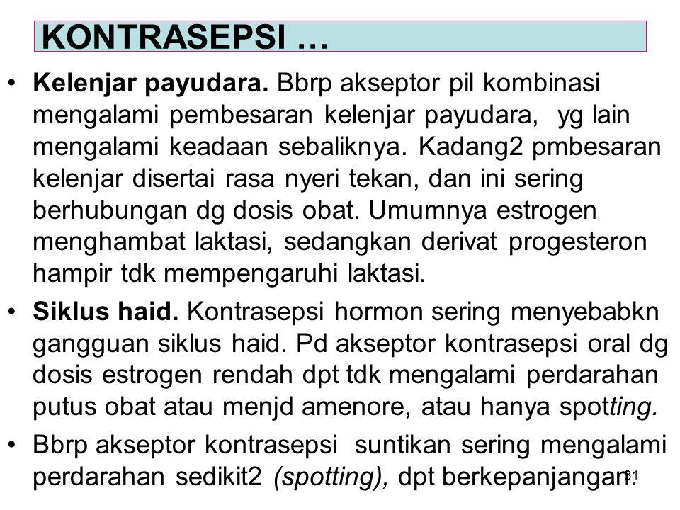31 Kelenjar payudara. Bbrp akseptor pil kombinasi mengalami pembesaran kelenjar payudara, yg lain mengalami keadaan sebaliknya. Kadang2 pmbesaran kele