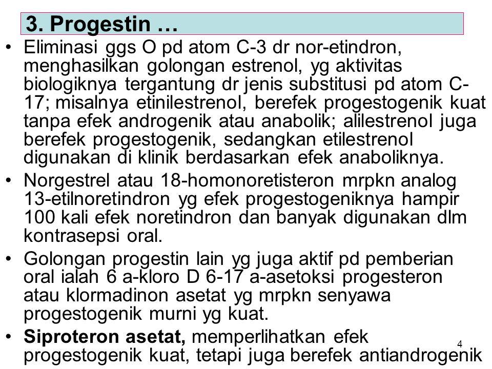 4 Eliminasi ggs O pd atom C-3 dr nor-etindron, menghasilkan golongan estrenol, yg aktivitas biologiknya tergantung dr jenis substitusi pd atom C- 17;