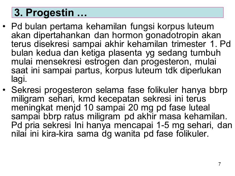 7 Pd bulan pertama kehamilan fungsi korpus luteum akan dipertahankan dan hormon gonadotropin akan terus disekresi sampai akhir kehamilan trimester 1.