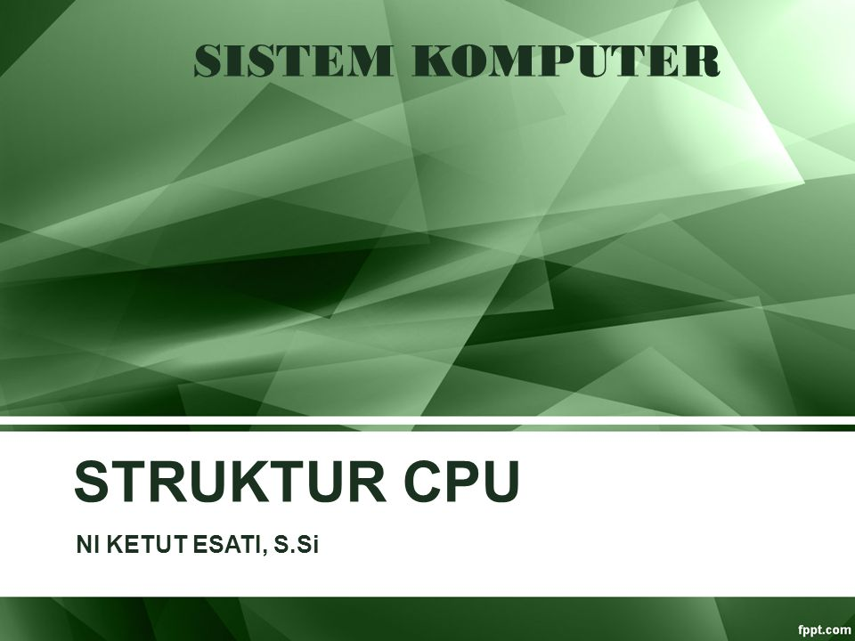Tujuan Menjelaskan tentang komponen utama CPU dan Fungsi CPU Membahas struktur dan fungsi internal prosesor, organisasi ALU, control unit dan register Menjelaskan fungsi prosesor dalam menjalankan instruksi-instruksi mesin Menjelaskan Fungsi Interupt & jenis – jenisnya.