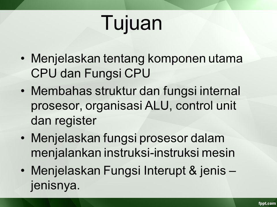 Siklus Fetch - Eksekusi Pada setiap siklus instruksi, CPU awalnya akan membaca instruksi dari memori Terdapat register dalam CPU yang berfungsi mengawasi dan menghitung instruksi selanjutnya, yang disebut Program Counter (PC) PC akan menambah satu hitungannya setiap kali CPU membaca instruksi
