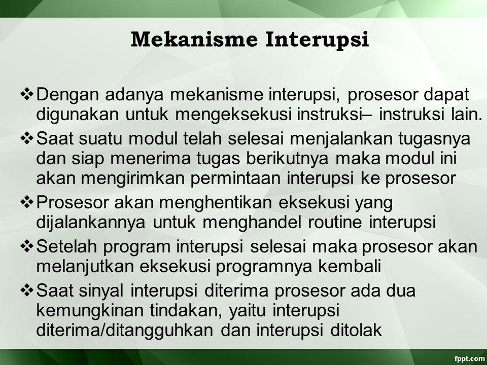 Mekanisme Interupsi  Dengan adanya mekanisme interupsi, prosesor dapat digunakan untuk mengeksekusi instruksi– instruksi lain.  Saat suatu modul tel