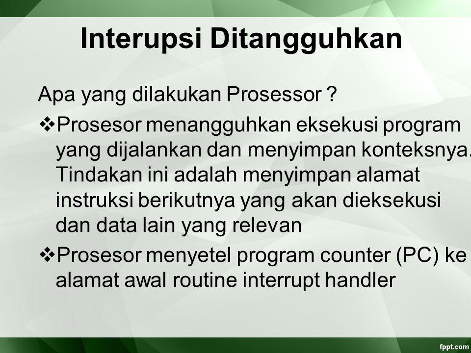 Interupsi Ditangguhkan Apa yang dilakukan Prosessor ?  Prosesor menangguhkan eksekusi program yang dijalankan dan menyimpan konteksnya. Tindakan ini