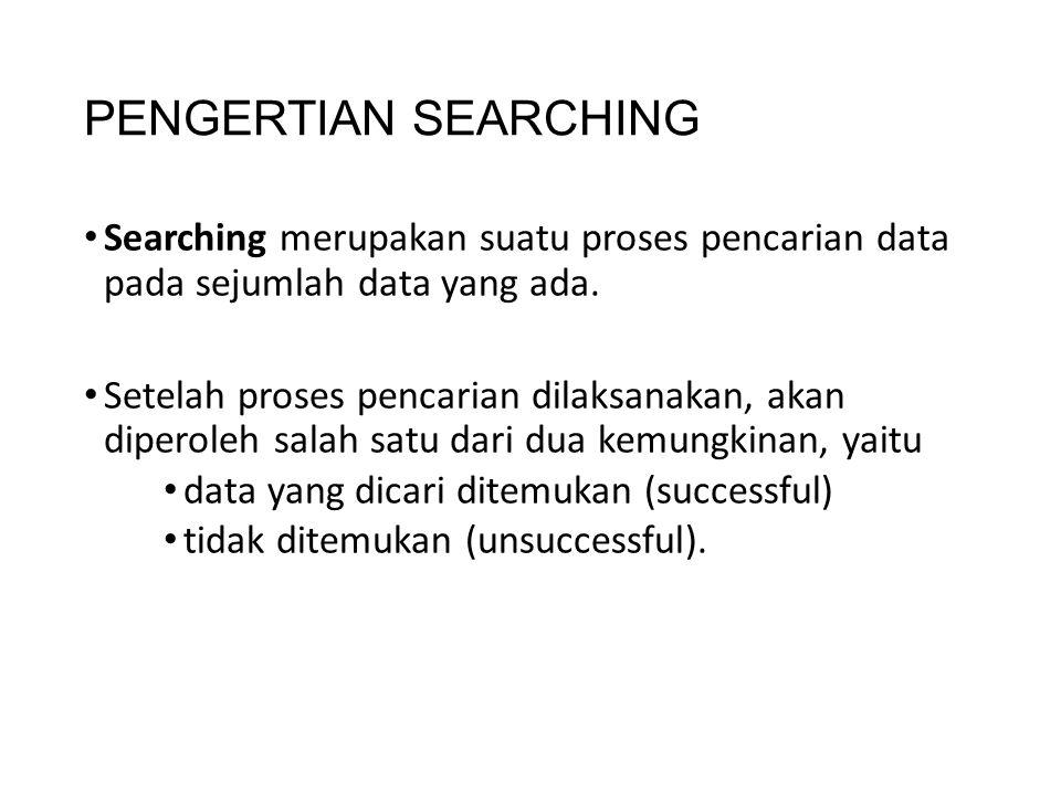 PENGERTIAN SEARCHING Searching merupakan suatu proses pencarian data pada sejumlah data yang ada. Setelah proses pencarian dilaksanakan, akan diperole
