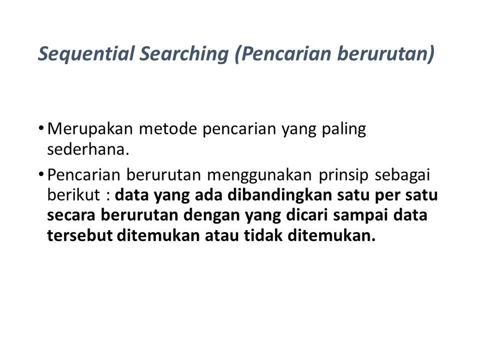 Sequential Searching (Pencarian berurutan) Merupakan metode pencarian yang paling sederhana. Pencarian berurutan menggunakan prinsip sebagai berikut :