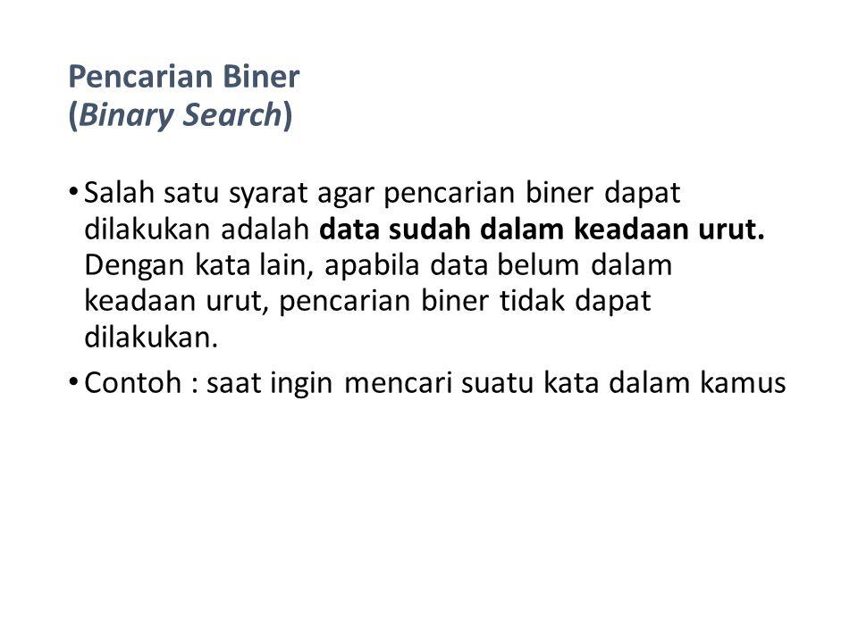 Pencarian Biner (Binary Search) Prinsip dari pencarian biner dapat dijelaskan sebagai berikut : Data diambil dari posisi 1 sampai posisi akhir N Kemudian cari posisi data tengah dengan rumus: (posisi awal + posisi akhir) / 2 Kemudian data yang dicari dibandingkan dengan data yang di tengah, apakah sama atau lebih kecil, atau lebih besar.