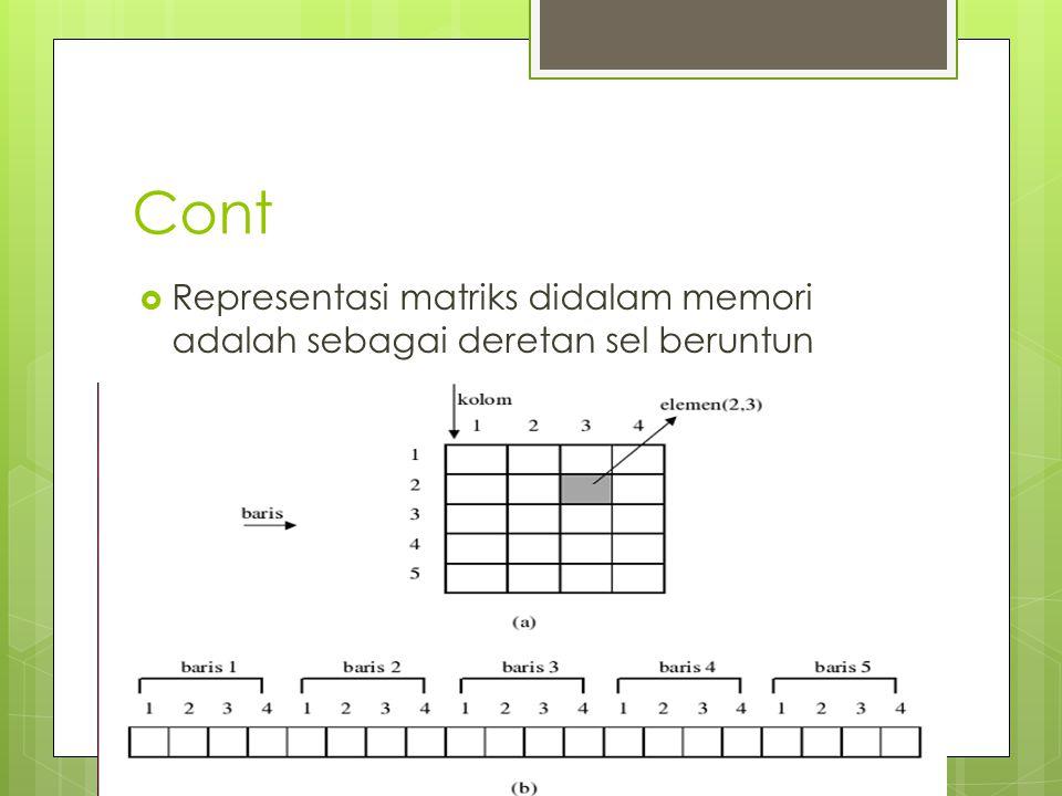 Cont  Representasi matriks didalam memori adalah sebagai deretan sel beruntun