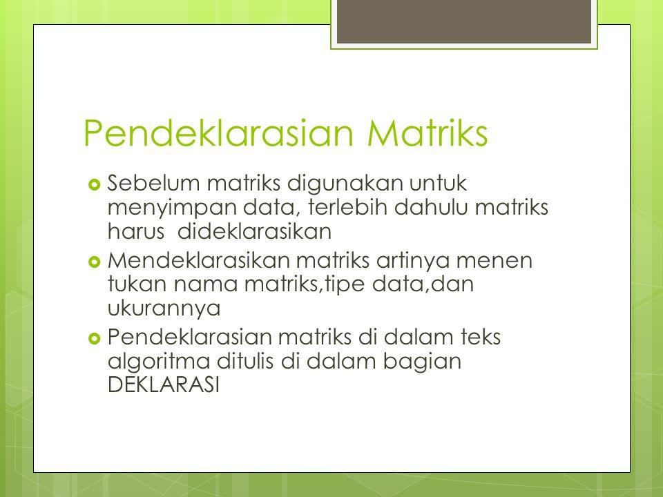 Pendeklarasian Matriks  Sebelum matriks digunakan untuk menyimpan data, terlebih dahulu matriks harus dideklarasikan  Mendeklarasikan matriks artiny