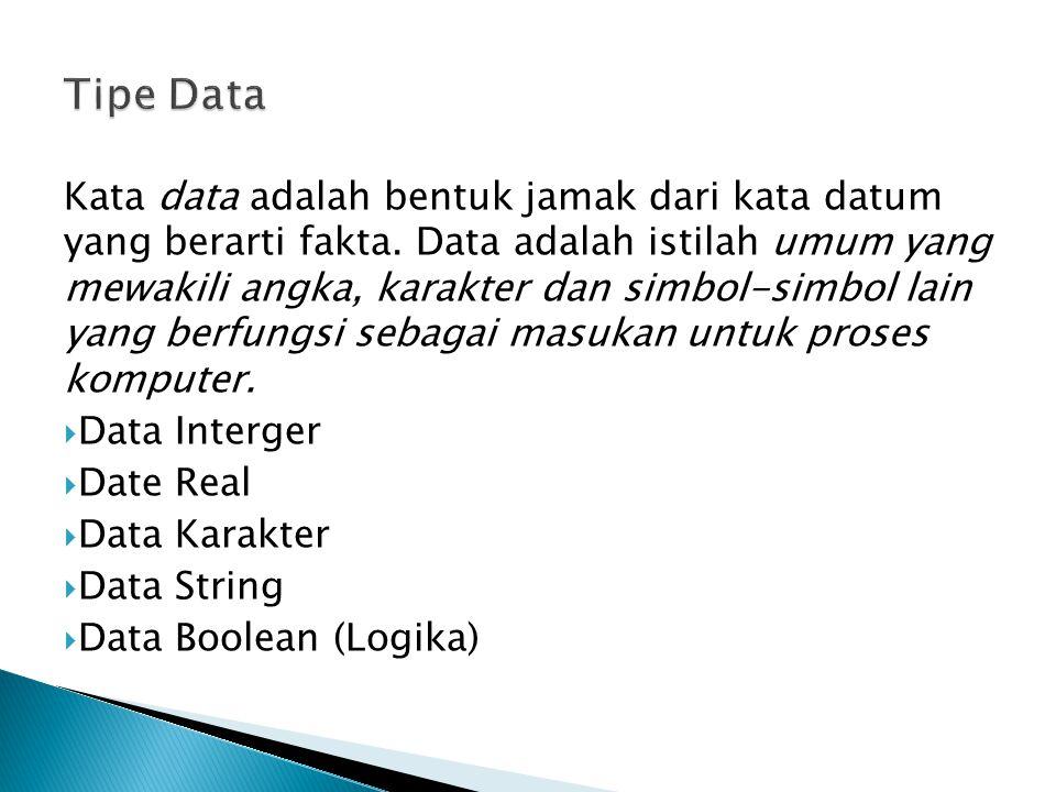Kata data adalah bentuk jamak dari kata datum yang berarti fakta. Data adalah istilah umum yang mewakili angka, karakter dan simbol-simbol lain yang b