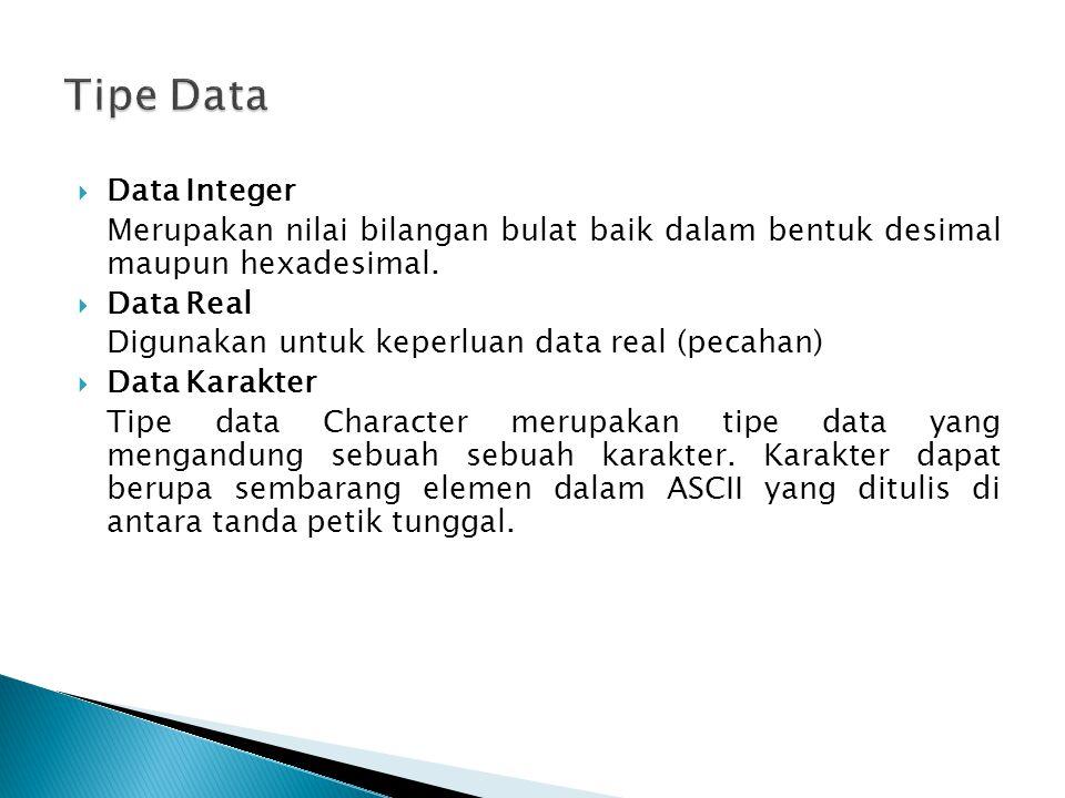  Data Integer Merupakan nilai bilangan bulat baik dalam bentuk desimal maupun hexadesimal.  Data Real Digunakan untuk keperluan data real (pecahan)