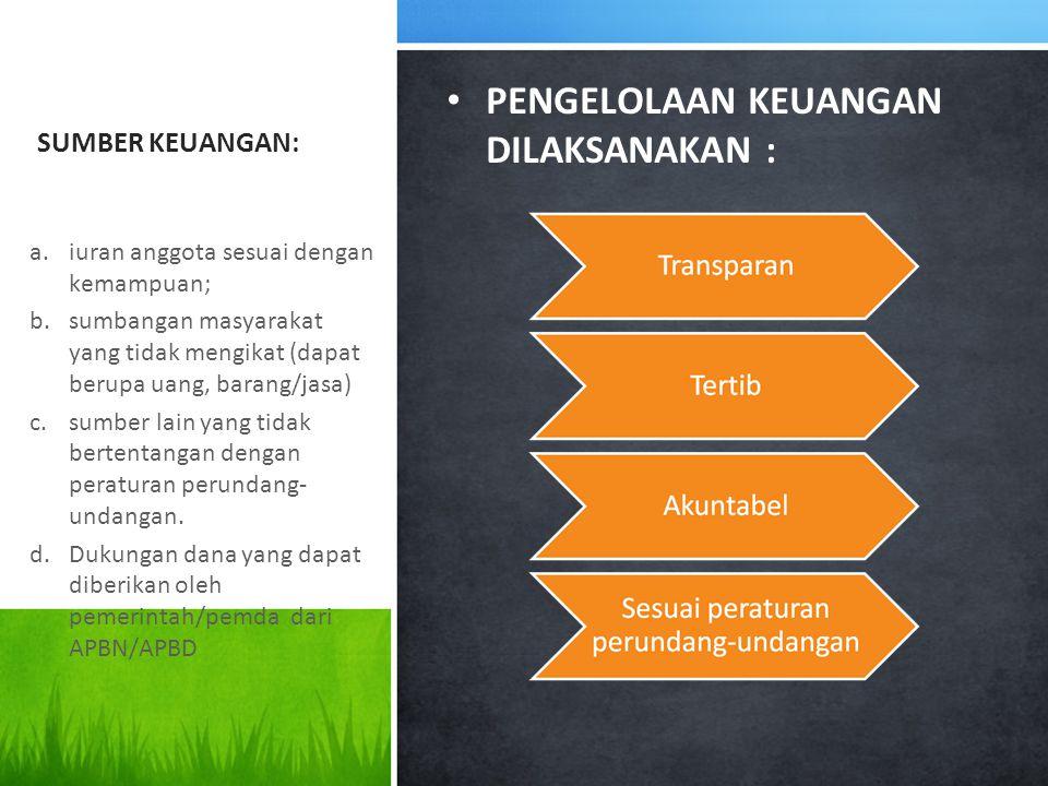 SUMBER KEUANGAN: PENGELOLAAN KEUANGAN DILAKSANAKAN : a.iuran anggota sesuai dengan kemampuan; b.sumbangan masyarakat yang tidak mengikat (dapat berupa