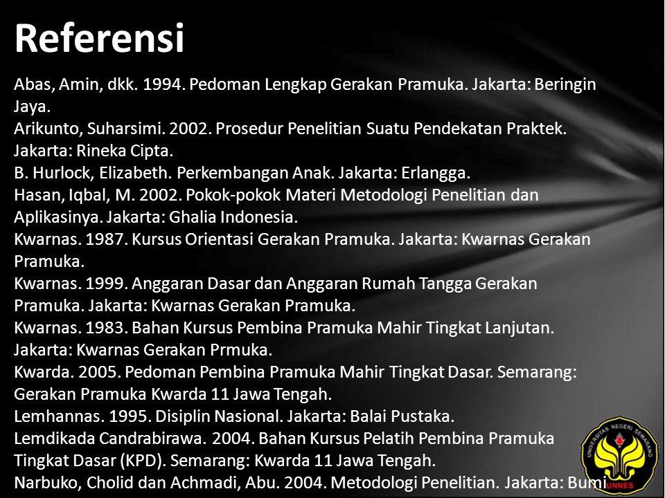 Referensi Abas, Amin, dkk.1994. Pedoman Lengkap Gerakan Pramuka.
