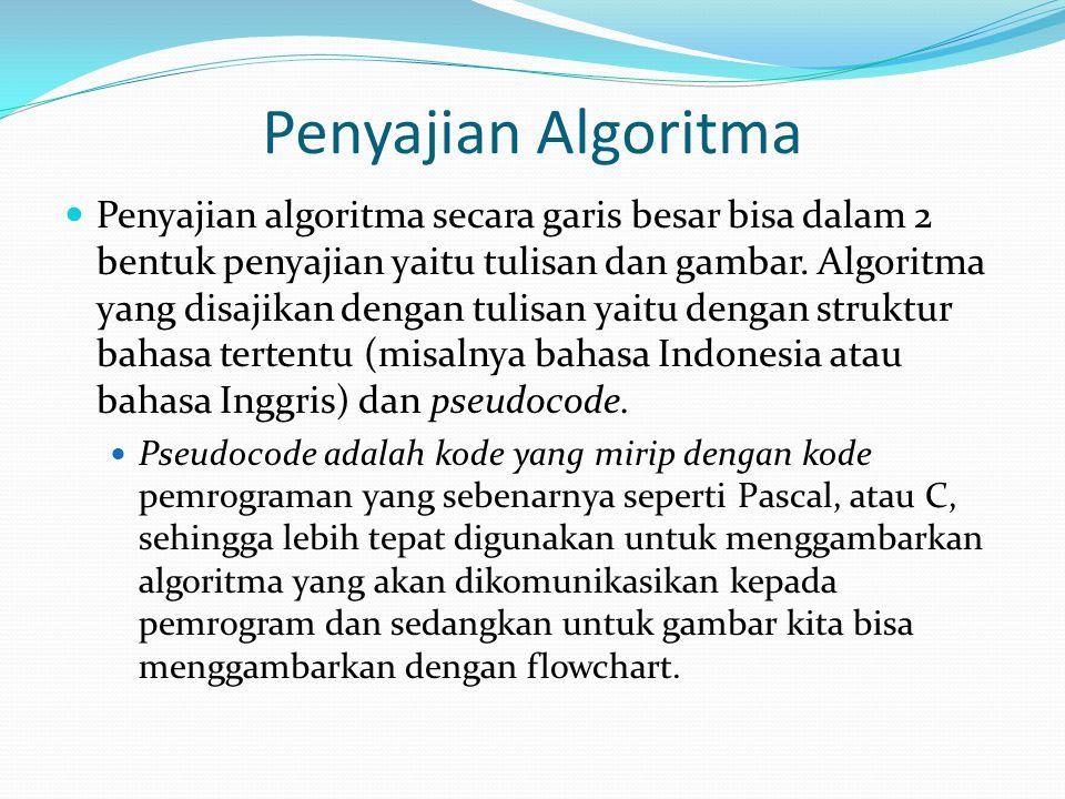 Penyajian Algoritma Penyajian algoritma secara garis besar bisa dalam 2 bentuk penyajian yaitu tulisan dan gambar. Algoritma yang disajikan dengan tul