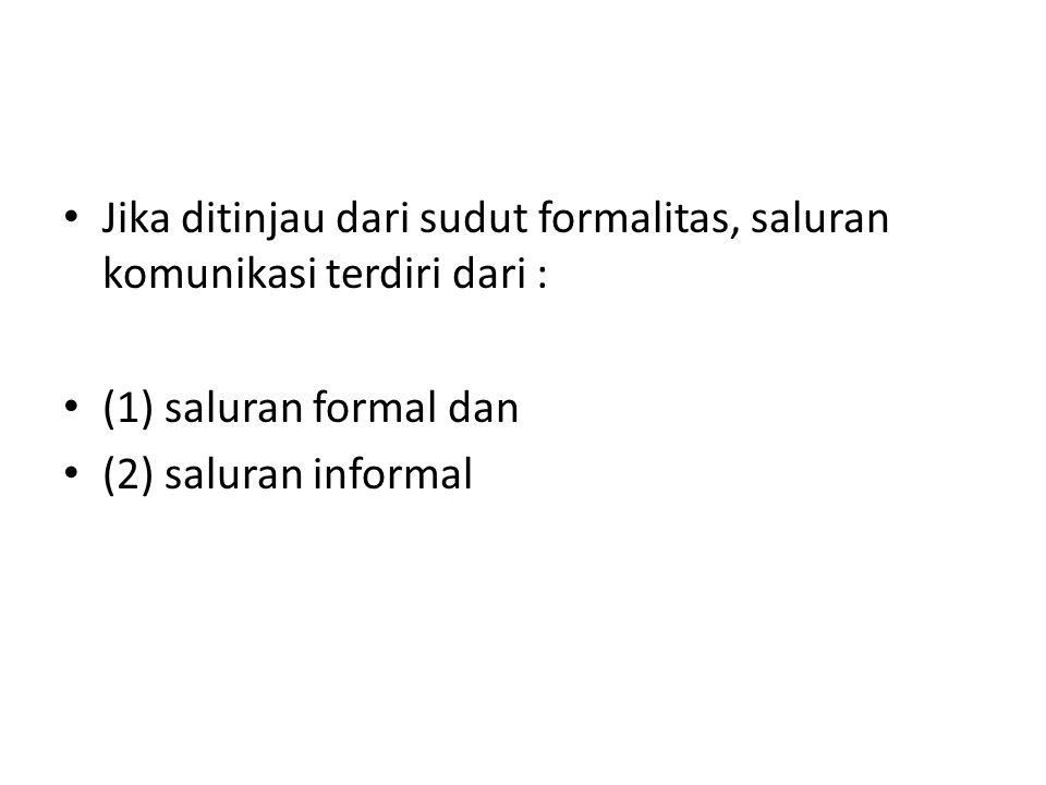 Jika ditinjau dari sudut formalitas, saluran komunikasi terdiri dari : (1) saluran formal dan (2) saluran informal