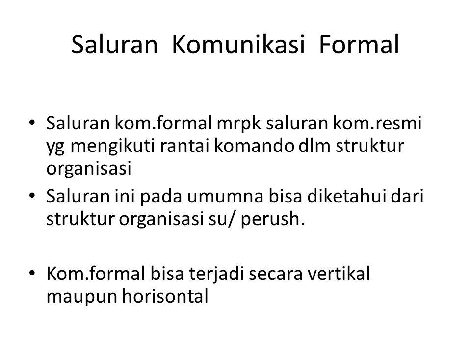 Saluran Komunikasi Formal Saluran kom.formal mrpk saluran kom.resmi yg mengikuti rantai komando dlm struktur organisasi Saluran ini pada umumna bisa d