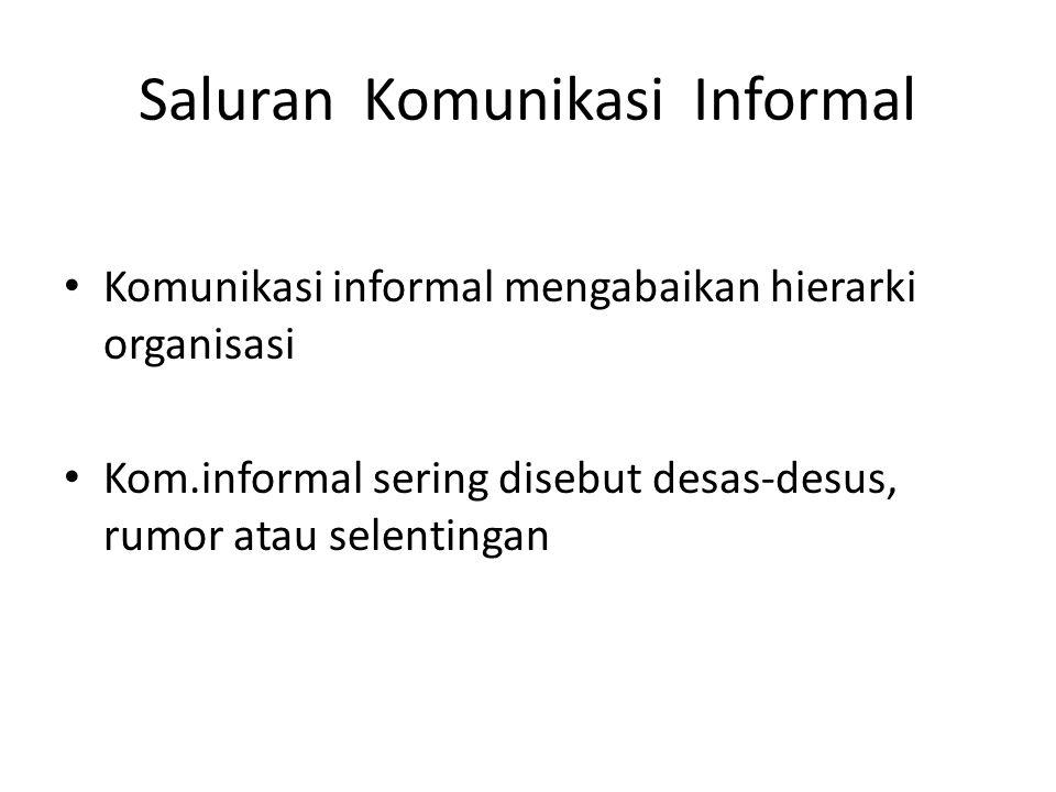 Saluran Komunikasi Informal Komunikasi informal mengabaikan hierarki organisasi Kom.informal sering disebut desas-desus, rumor atau selentingan