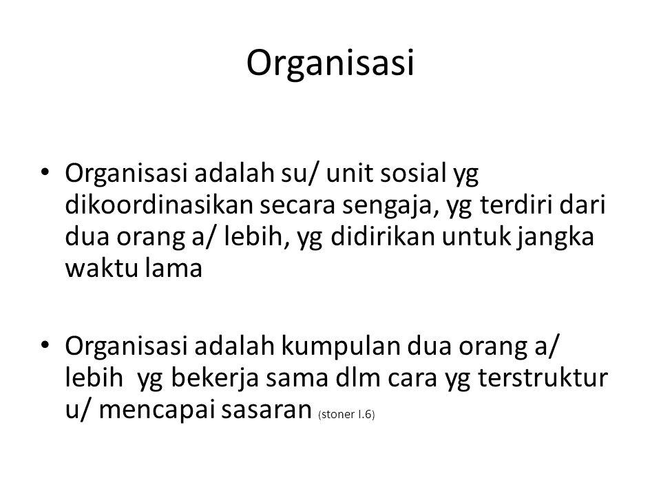 Organisasi Organisasi adalah su/ unit sosial yg dikoordinasikan secara sengaja, yg terdiri dari dua orang a/ lebih, yg didirikan untuk jangka waktu la