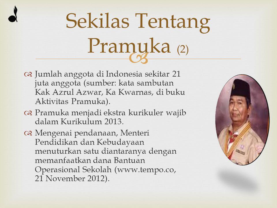   Jumlah anggota di Indonesia sekitar 21 juta anggota (sumber: kata sambutan Kak Azrul Azwar, Ka Kwarnas, di buku Aktivitas Pramuka).  Pramuka menj