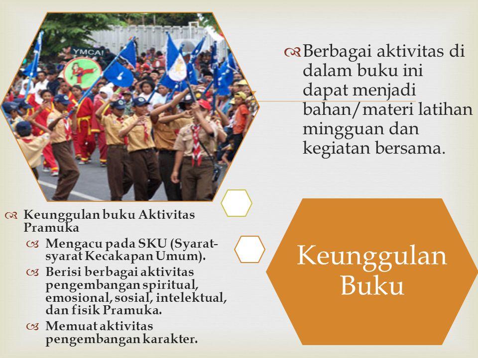  Keunggulan Buku  Keunggulan buku Aktivitas Pramuka  Mengacu pada SKU (Syarat- syarat Kecakapan Umum).  Berisi berbagai aktivitas pengembangan spi