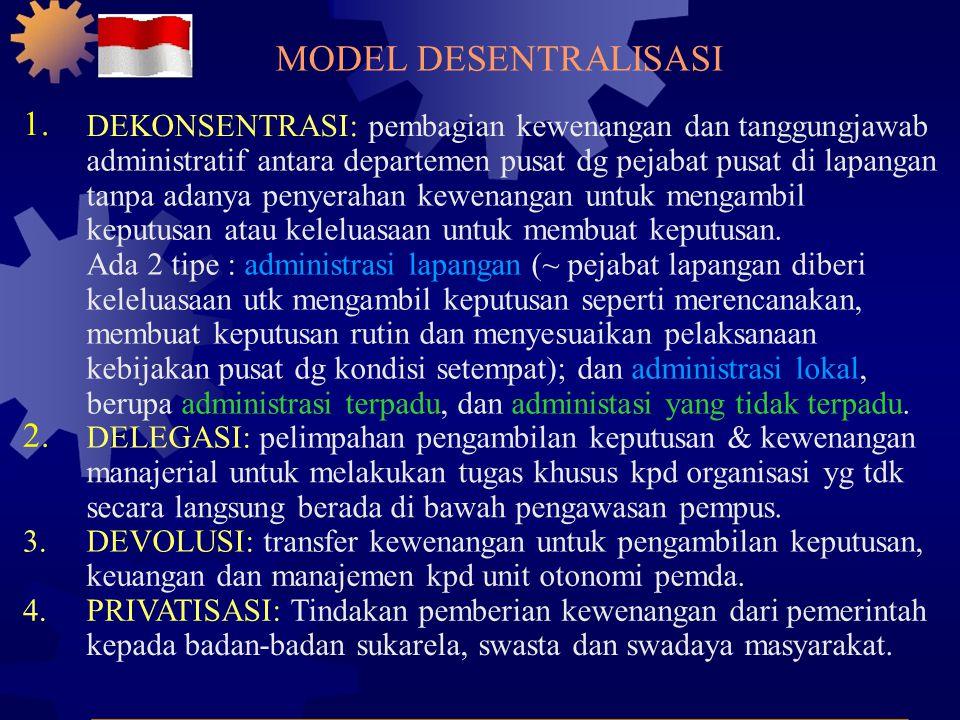 VISI dan KONSEP DASAR OTODA 1. POLITIK: harus dipahami sebagai proses untuk membuka ruang bagi lahirnya kepala pemerintahan daerah yg dipilih secara d