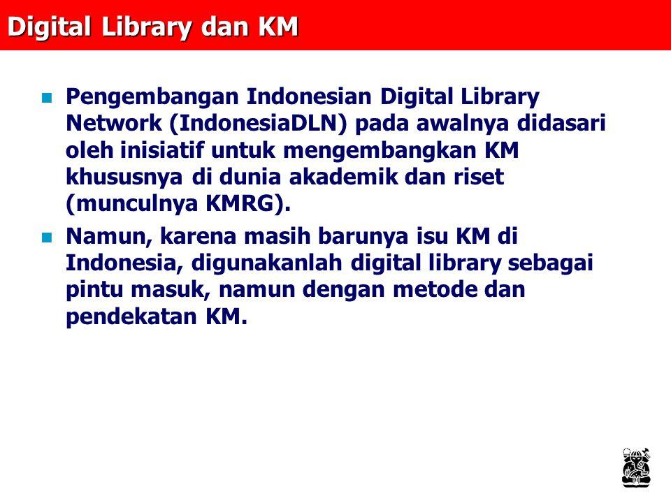 Digital Library dan KM Pengembangan Indonesian Digital Library Network (IndonesiaDLN) pada awalnya didasari oleh inisiatif untuk mengembangkan KM khususnya di dunia akademik dan riset (munculnya KMRG).