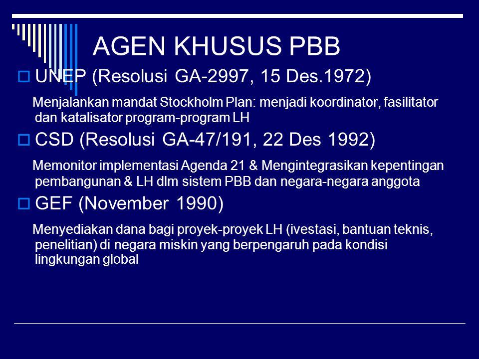 AGEN KHUSUS PBB  UNEP (Resolusi GA-2997, 15 Des.1972) Menjalankan mandat Stockholm Plan: menjadi koordinator, fasilitator dan katalisator program-program LH  CSD (Resolusi GA-47/191, 22 Des 1992) Memonitor implementasi Agenda 21 & Mengintegrasikan kepentingan pembangunan & LH dlm sistem PBB dan negara-negara anggota  GEF (November 1990) Menyediakan dana bagi proyek-proyek LH (ivestasi, bantuan teknis, penelitian) di negara miskin yang berpengaruh pada kondisi lingkungan global